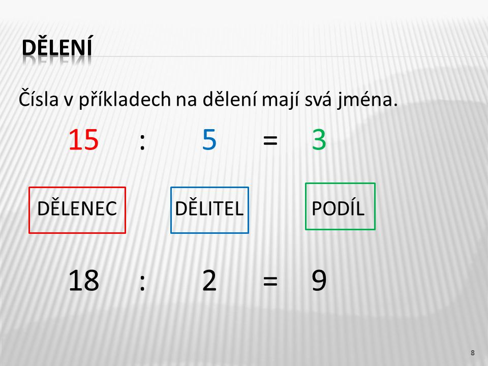 Čísla v příkladech na dělení mají svá jména. 15 : 5 = 3 DĚLENEC DĚLITELPODÍL 18 : 2 = 9 8