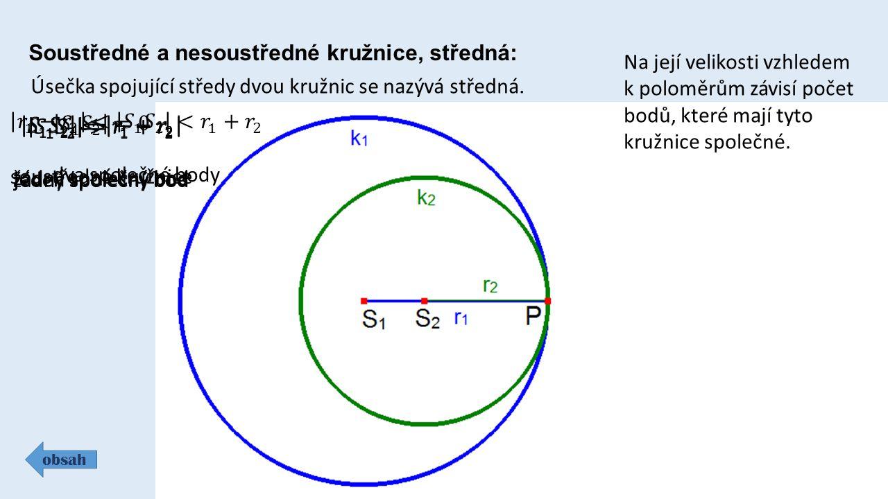 obsah Soustředné a nesoustředné kružnice, středná: Úsečka spojující středy dvou kružnic se nazývá středná. Na její velikosti vzhledem k poloměrům závi