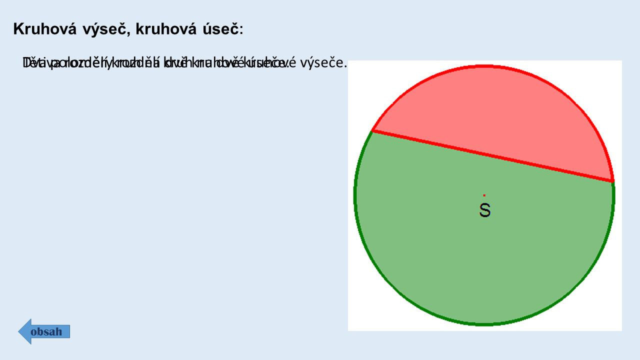 Kruhová výseč, kruhová úseč : obsah Dva poloměry rozdělí kruh na dvě kruhové výseče. Tětiva rozdělí kruh na dvě kruhové úseče.