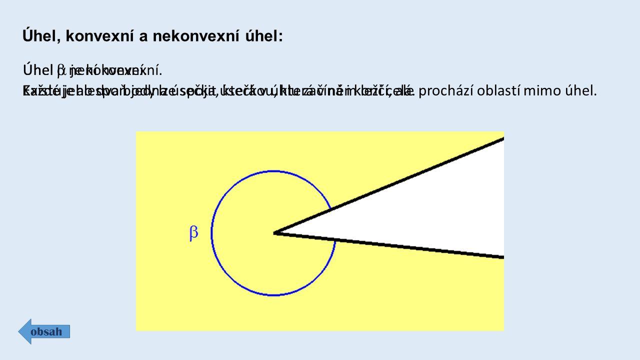Úhel, konvexní a nekonvexní úhel: obsah Úhel  je konvexní.
