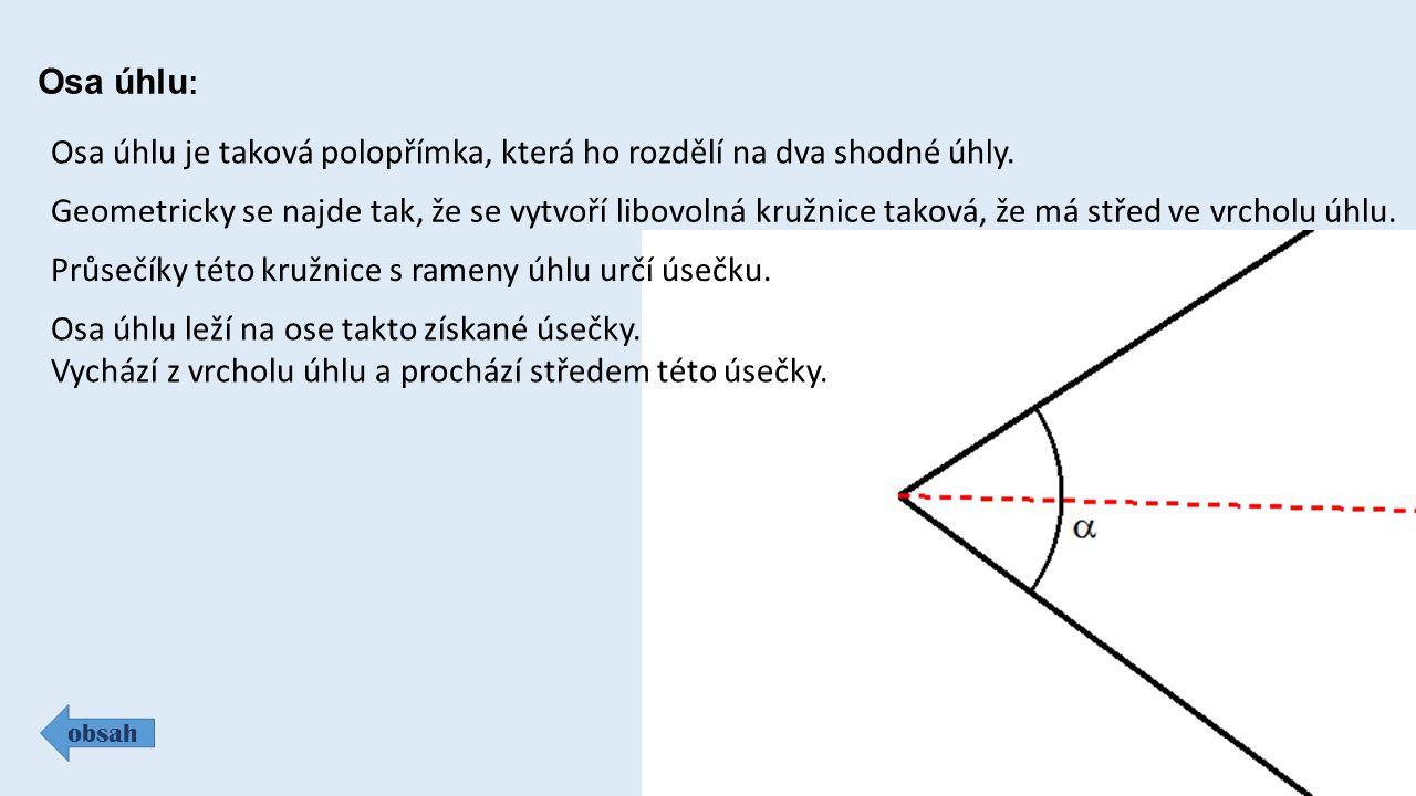 Osa úhlu : obsah Osa úhlu je taková polopřímka, která ho rozdělí na dva shodné úhly.