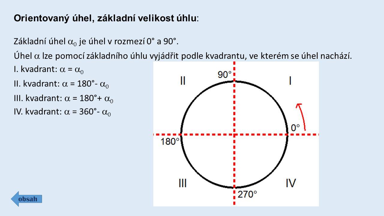 Orientovaný úhel, základní velikost úhlu: obsah Základní úhel  0 je úhel v rozmezí 0° a 90°.