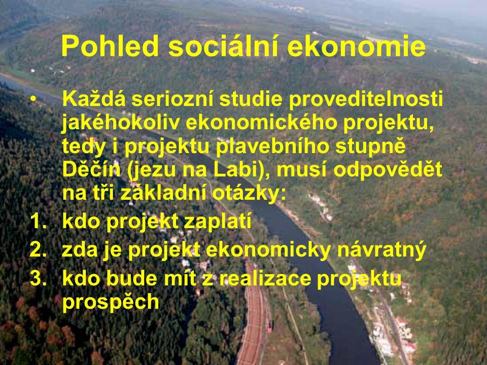 Pohled sociální ekonomie Každá seriozní studie proveditelnosti jakéhokoliv ekonomického projektu, tedy i projektu plavebního stupně Děčín (jezu na Labi), musí odpovědět na tři základní otázky: 1.kdo projekt zaplatí 2.zda je projekt ekonomicky návratný 3.kdo bude mít z realizace projektu prospěch