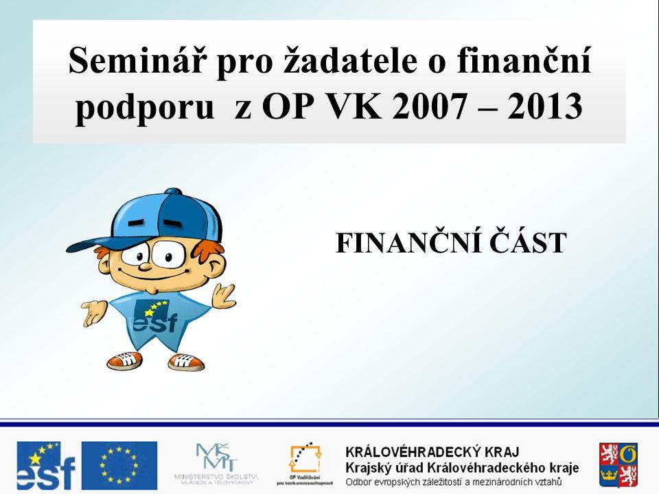 Obsah prezentace 1.Rozpočet projektu 2.Způsobilé výdaje 3.Nezpůsobilé výdaje 4.DPH 5.Zálohová platba