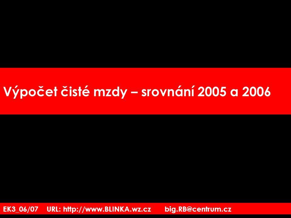 EK3_06/07 URL: http://www.BLINKA.wz.cz big.RB@centrum.cz Výpočet čisté mzdy – srovnání 2005 a 2006