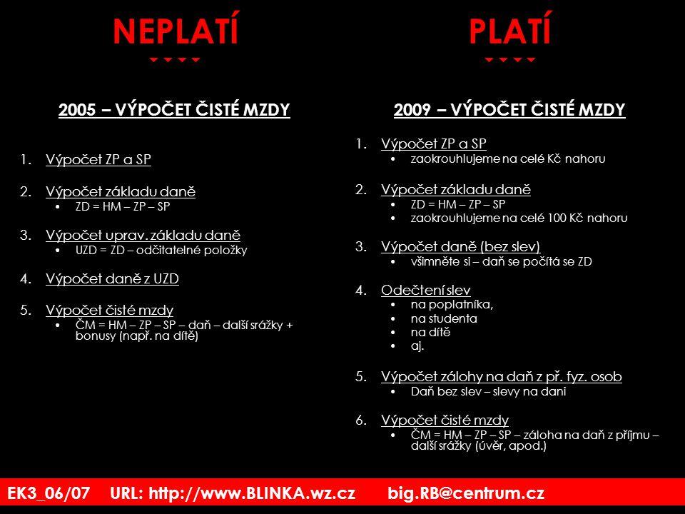 EK3_06/07 URL: http://www.BLINKA.wz.cz big.RB@centrum.cz PLATÍ  2009 – VÝPOČET ČISTÉ MZDY 1.Výpočet ZP a SP zaokrouhlujeme na celé Kč nahoru 2.Výp