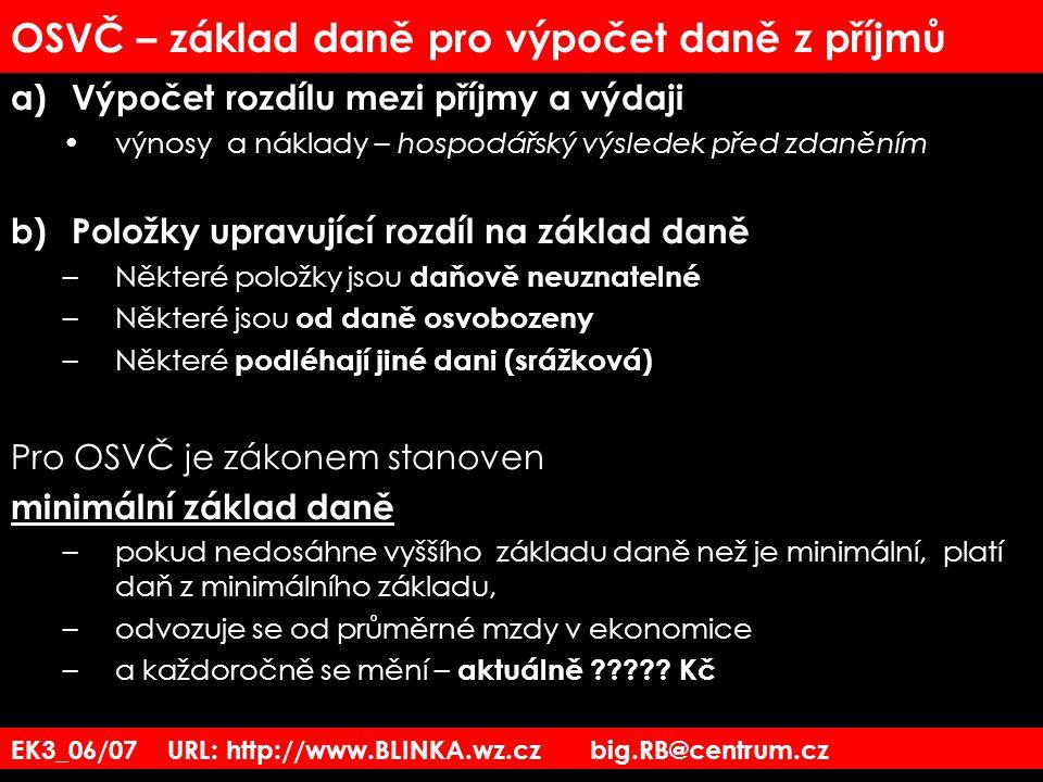 EK3_06/07 URL: http://www.BLINKA.wz.cz big.RB@centrum.cz OSVČ – základ daně pro výpočet daně z příjmů a)Výpočet rozdílu mezi příjmy a výdaji výnosy a