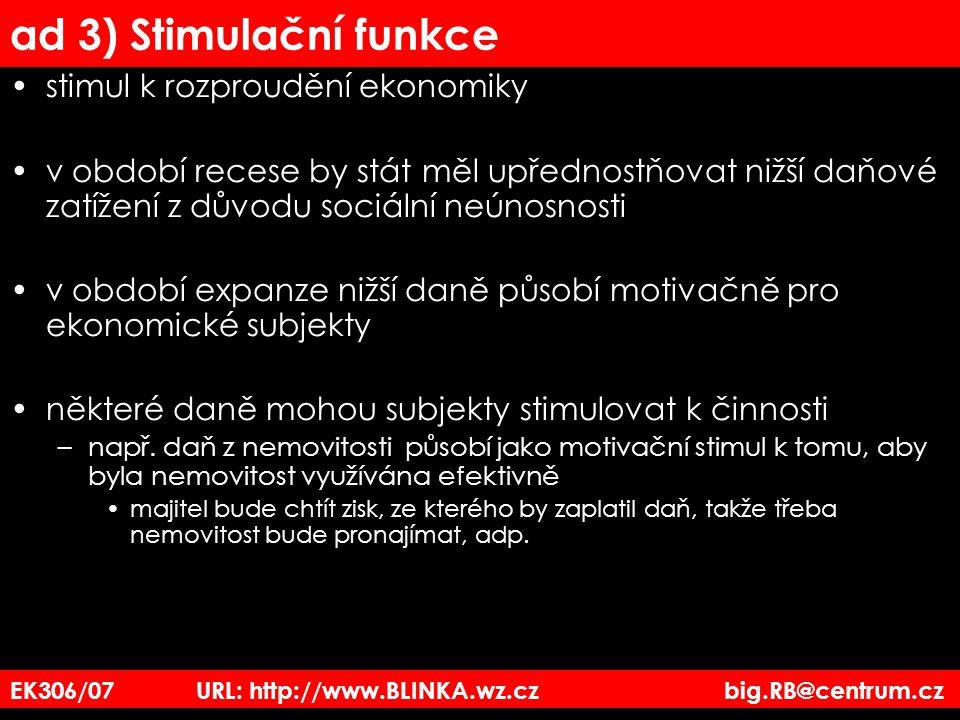 EK306/07 URL: http://www.BLINKA.wz.cz big.RB@centrum.cz ad 3) Stimulační funkce stimul k rozproudění ekonomiky v období recese by stát měl upřednostňo