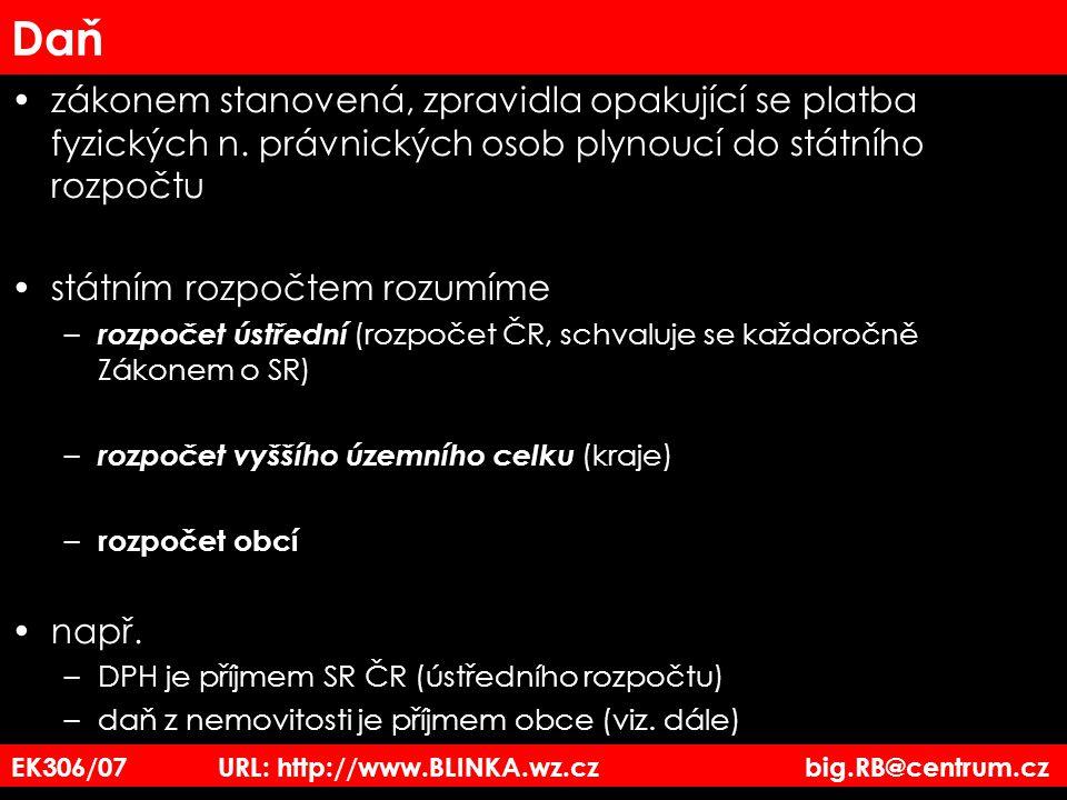 EK306/07 URL: http://www.BLINKA.wz.cz big.RB@centrum.cz Daň zákonem stanovená, zpravidla opakující se platba fyzických n. právnických osob plynoucí do