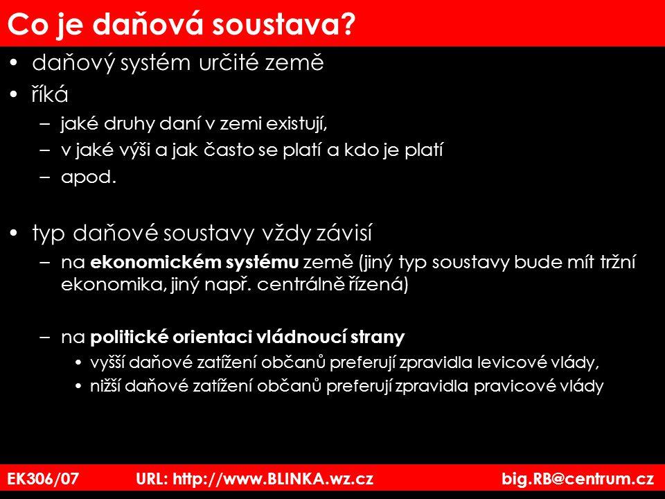 EK3_06/07 URL: http://www.BLINKA.wz.cz big.RB@centrum.cz Předmět daně z příjmů fyzických osob Příjmy fyzických osob 1.Ze závislé činnosti – příjmy zaměstnanců (mzda), příjmy společníků (sro, vos, členů družstev) 2.Příjmy z podnikání – OSVČ, živnostníci 3.Z funkčních požitků – příjmy za výkon veřejné funkce – platy poslanců, členů vlády 4.Příjmů z jiné samostatné výdělečné činnosti – umělecká produkce, autorská práva 5.Příjmy z kapitálového majetku – výnosy z prodeje cenných papírů 6.Příjmy ze soustavného pronájmu 7.Ostatní příjmy –příležitostné příjmy, příjmy z prodeje nemovitostí atd.