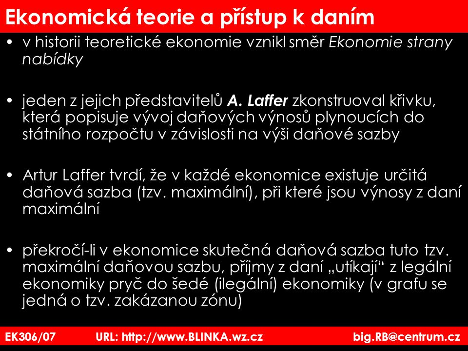 EK306/07 URL: http://www.BLINKA.wz.cz big.RB@centrum.cz Ekonomická teorie a přístup k daním v historii teoretické ekonomie vznikl směr Ekonomie strany