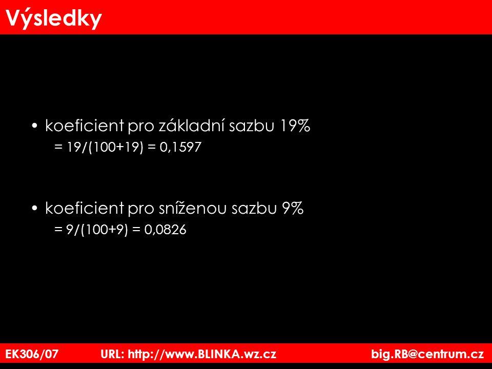 EK306/07 URL: http://www.BLINKA.wz.cz big.RB@centrum.cz Výsledky koeficient pro základní sazbu 19% = 19/(100+19) = 0,1597 koeficient pro sníženou sazb