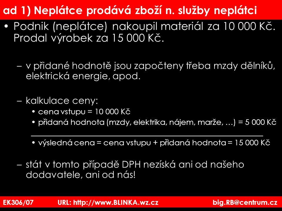 EK306/07 URL: http://www.BLINKA.wz.cz big.RB@centrum.cz ad 1) Neplátce prodává zboží n. služby neplátci Podnik (neplátce) nakoupil materiál za 10 000