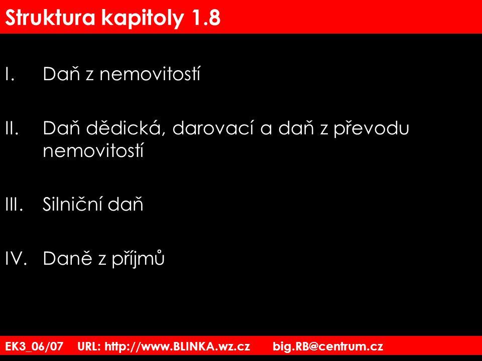 EK3_06/07 URL: http://www.BLINKA.wz.cz big.RB@centrum.cz Struktura kapitoly 1.8 I.Daň z nemovitostí II.Daň dědická, darovací a daň z převodu nemovitos