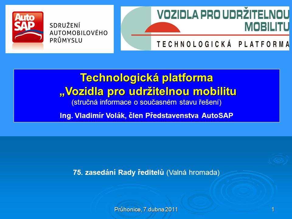 """Průhonice, 7.dubna 2011 1 Technologická platforma """"Vozidla pro udržitelnou mobilitu """"Vozidla pro udržitelnou mobilitu (stručná informace o současném stavu řešení) Ing."""