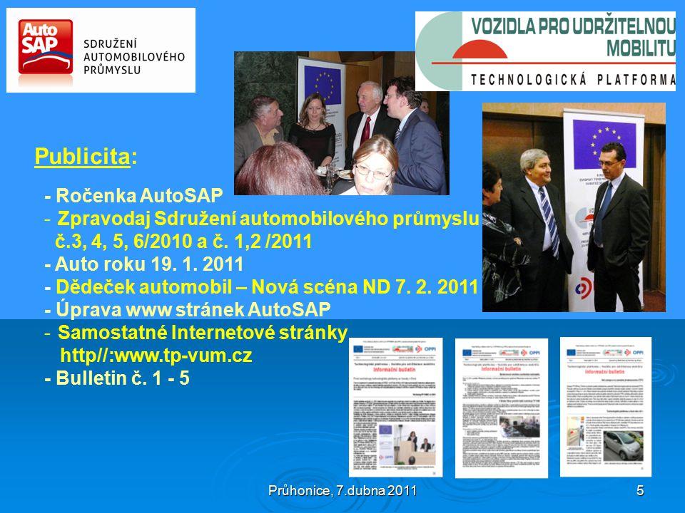 Průhonice, 7.dubna 2011 5 Publicita: - Ročenka AutoSAP -Zpravodaj Sdružení automobilového průmyslu č.3, 4, 5, 6/2010 a č.