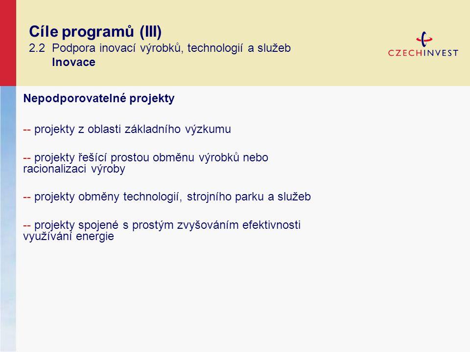 Cíle programů (III) 2.2 Podpora inovací výrobků, technologií a služeb Inovace Nepodporovatelné projekty -- projekty z oblasti základního výzkumu -- projekty řešící prostou obměnu výrobků nebo racionalizaci výroby -- projekty obměny technologií, strojního parku a služeb -- projekty spojené s prostým zvyšováním efektivnosti využívání energie
