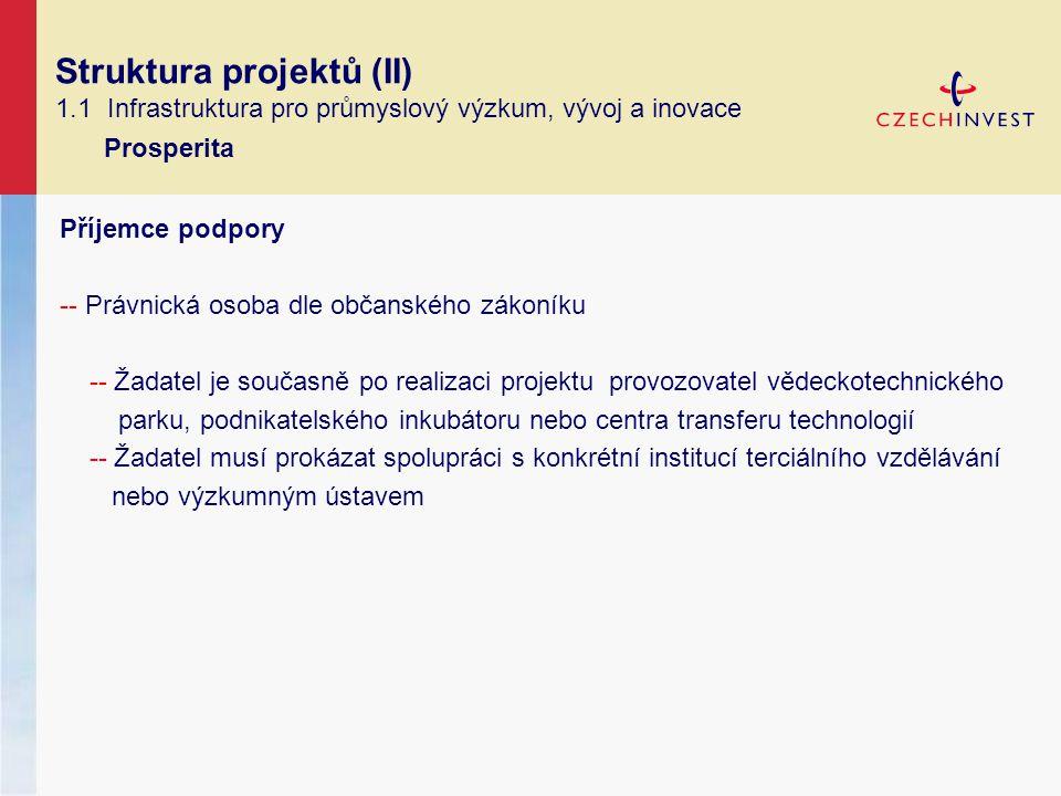 Struktura projektů (II) 1.1 Infrastruktura pro průmyslový výzkum, vývoj a inovace Prosperita Příjemce podpory -- Právnická osoba dle občanského zákoníku -- Žadatel je současně po realizaci projektu provozovatel vědeckotechnického parku, podnikatelského inkubátoru nebo centra transferu technologií -- Žadatel musí prokázat spolupráci s konkrétní institucí terciálního vzdělávání nebo výzkumným ústavem