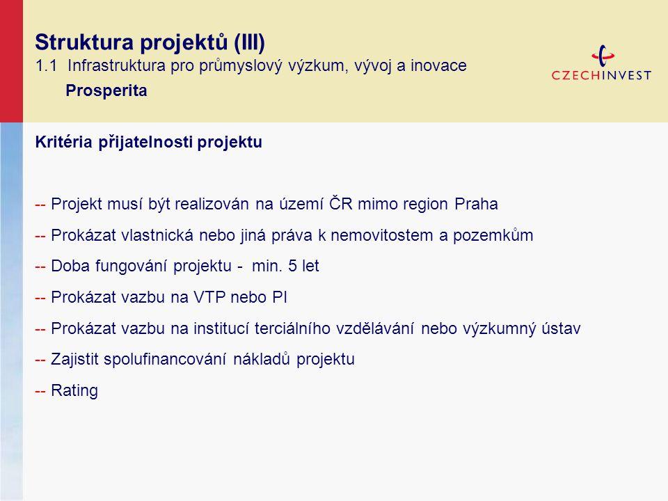 Struktura projektů (III) 1.1 Infrastruktura pro průmyslový výzkum, vývoj a inovace Prosperita Kritéria přijatelnosti projektu -- Projekt musí být realizován na území ČR mimo region Praha -- Prokázat vlastnická nebo jiná práva k nemovitostem a pozemkům -- Doba fungování projektu - min.