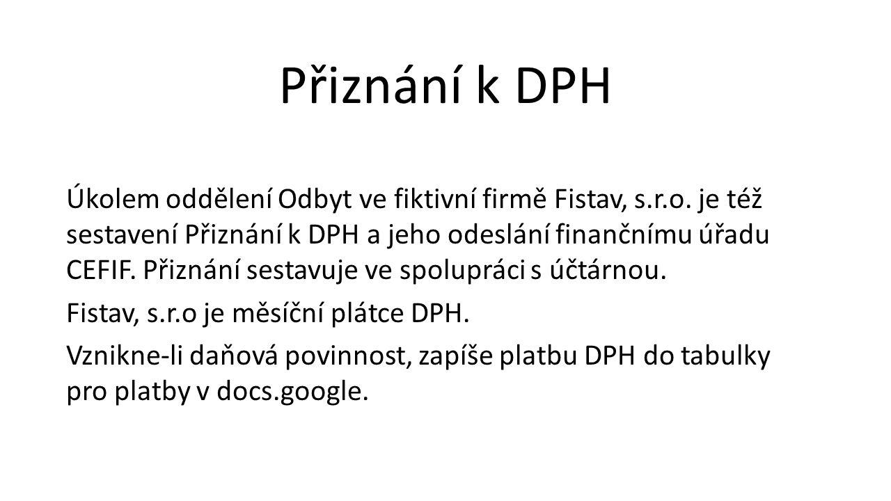 Úkolem oddělení Odbyt ve fiktivní firmě Fistav, s.r.o. je též sestavení Přiznání k DPH a jeho odeslání finančnímu úřadu CEFIF. Přiznání sestavuje ve s
