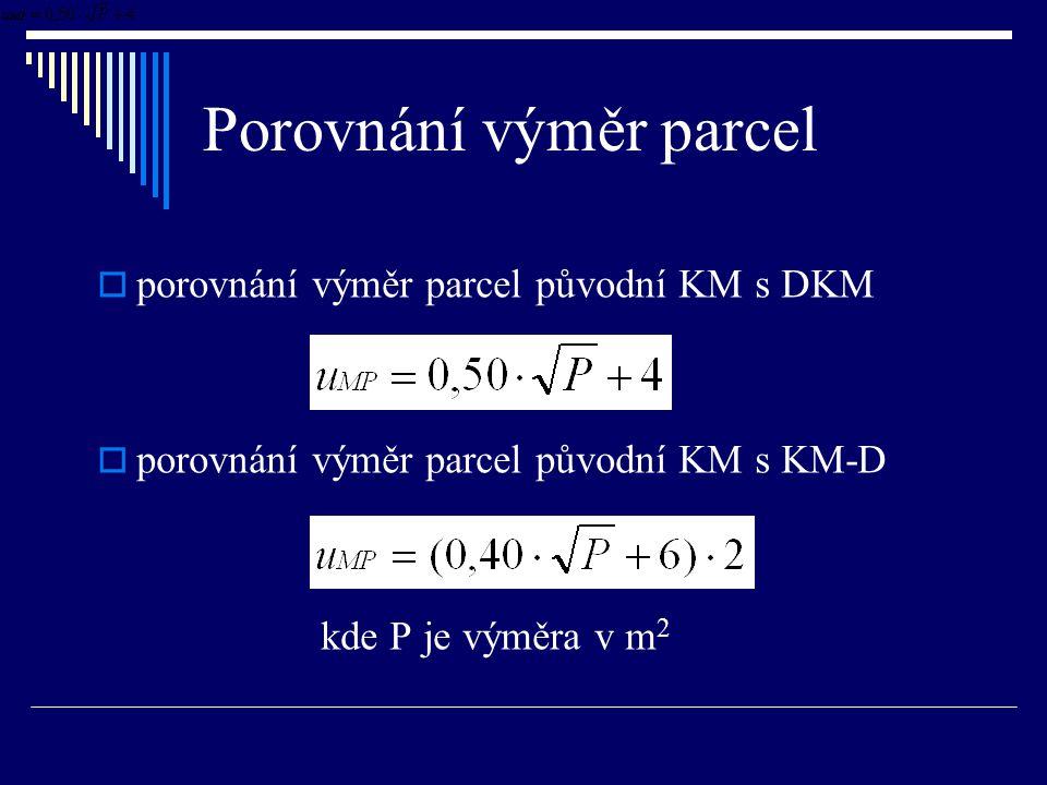 Porovnání výměr parcel  porovnání výměr parcel původní KM s DKM  porovnání výměr parcel původní KM s KM-D kde P je výměra v m 2