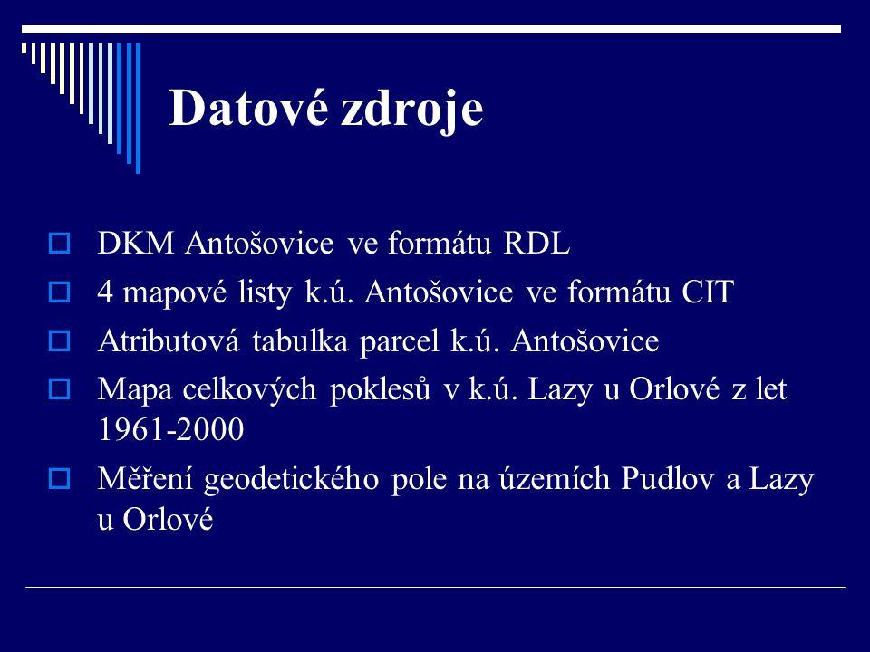 Datové zdroje  DKM Antošovice ve formátu RDL  4 mapové listy k.ú. Antošovice ve formátu CIT  Atributová tabulka parcel k.ú. Antošovice  Mapa celko