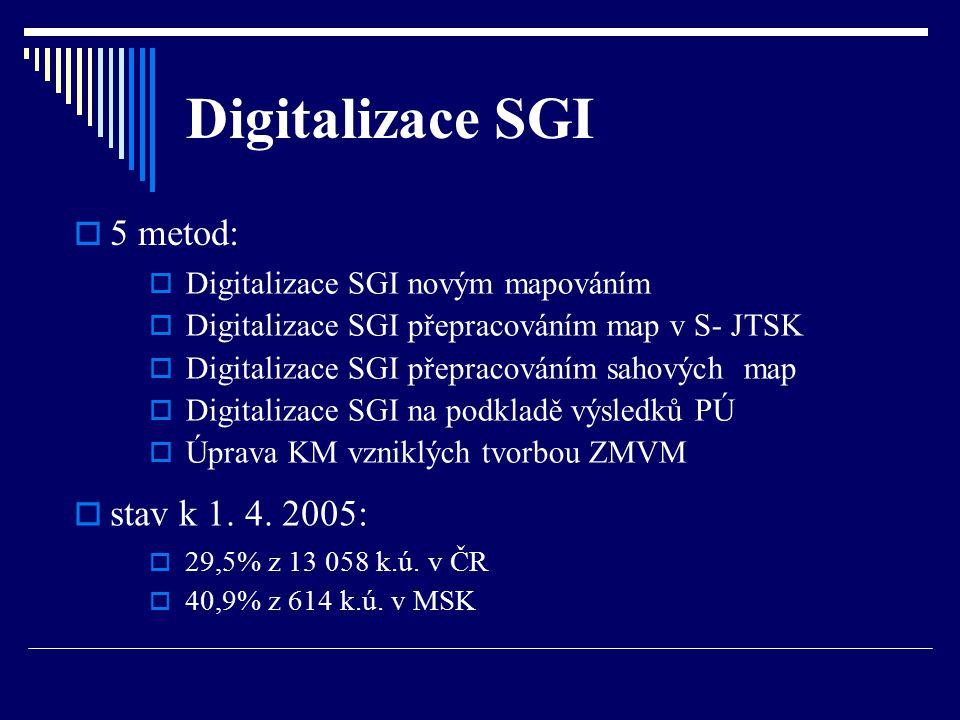 Digitalizace SGI  5 metod:  Digitalizace SGI novým mapováním  Digitalizace SGI přepracováním map v S- JTSK  Digitalizace SGI přepracováním sahovýc