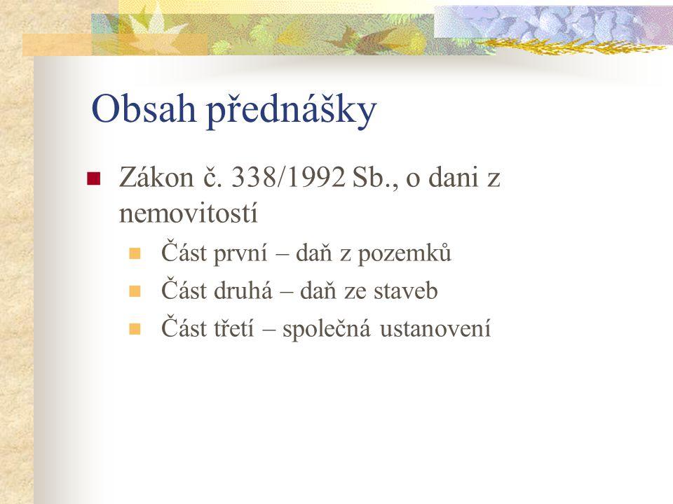 Obsah přednášky Zákon č.
