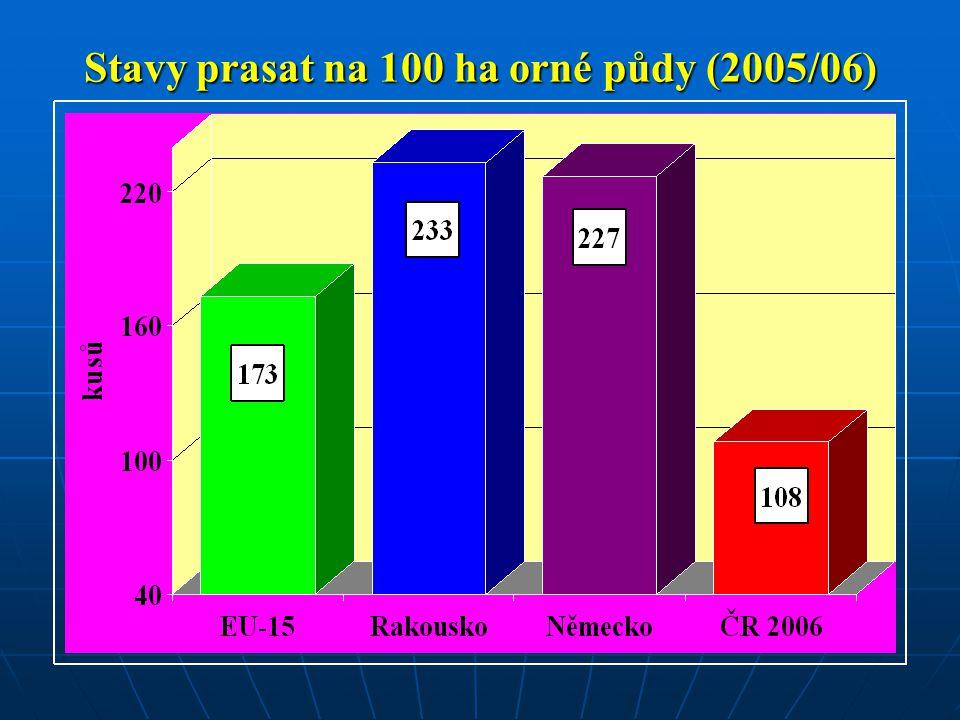 Stavy prasat na 100 ha orné půdy (2005/06)