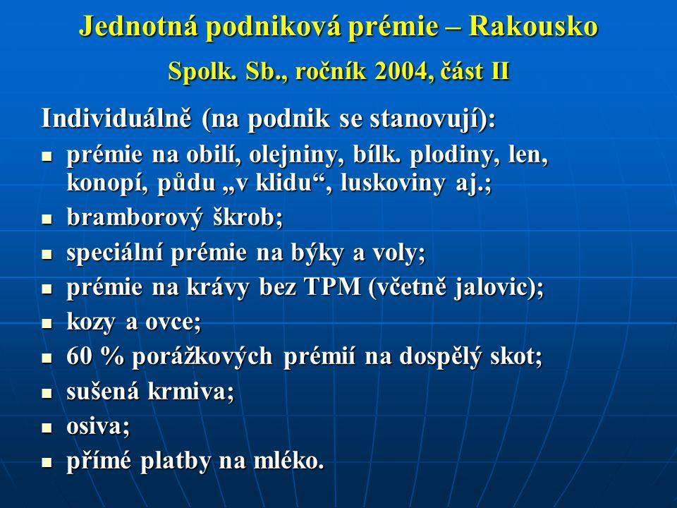 Jednotná podniková prémie – Rakousko Spolk. Sb., ročník 2004, část II Individuálně (na podnik se stanovují): prémie na obilí, olejniny, bílk. plodiny,