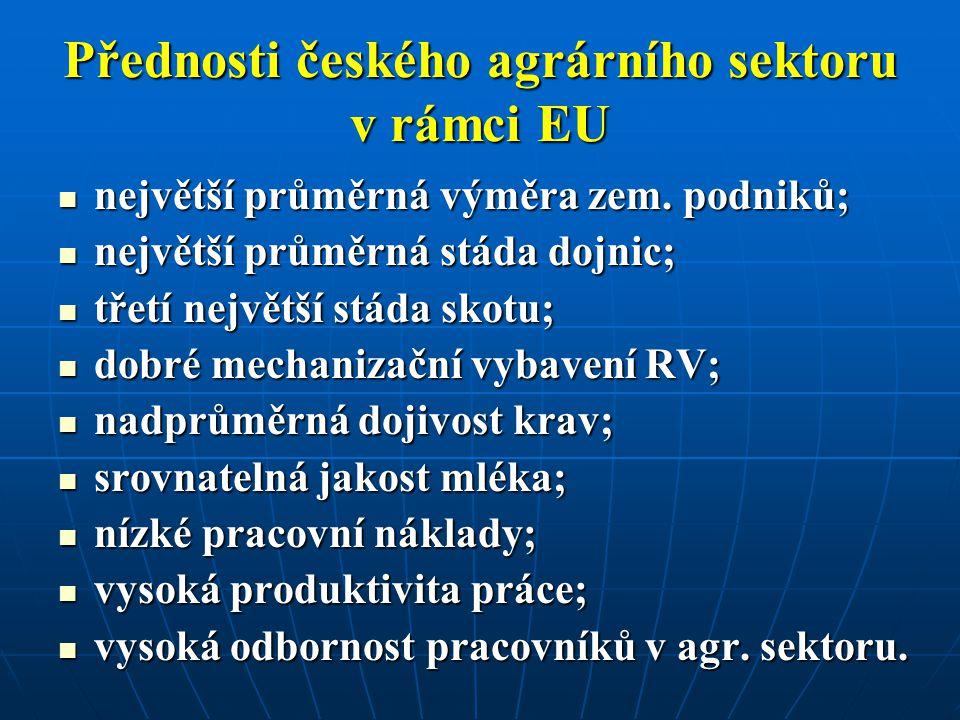 Přednosti českého agrárního sektoru v rámci EU největší průměrná výměra zem. podniků; největší průměrná výměra zem. podniků; největší průměrná stáda d