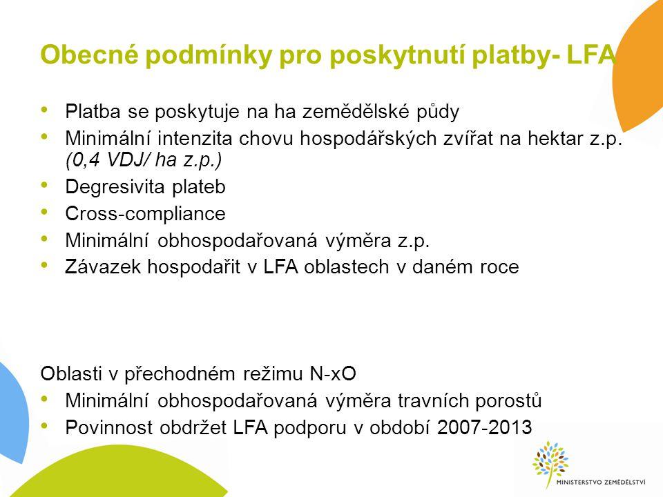 Obecné podmínky pro poskytnutí platby- LFA Platba se poskytuje na ha zemědělské půdy Minimální intenzita chovu hospodářských zvířat na hektar z.p. (0,