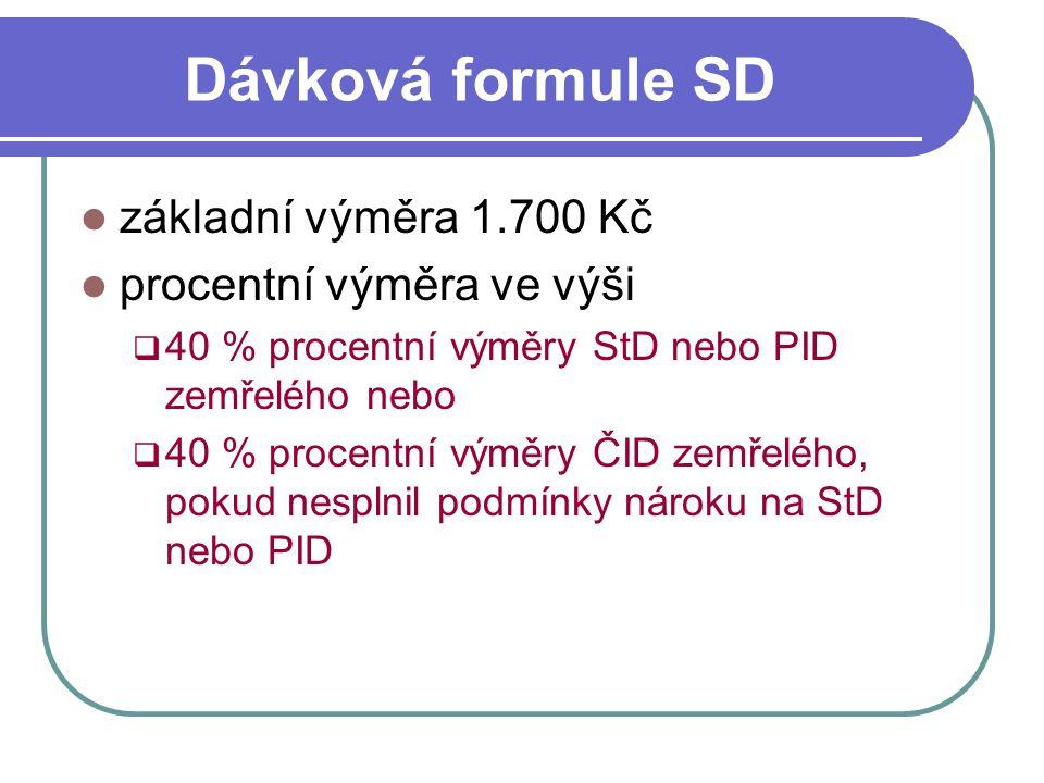 Dávková formule SD základní výměra 1.700 Kč procentní výměra ve výši  40 % procentní výměry StD nebo PID zemřelého nebo  40 % procentní výměry ČID z