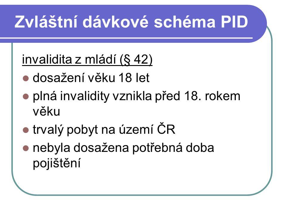 Zvláštní dávkové schéma PID invalidita z mládí (§ 42) dosažení věku 18 let plná invalidity vznikla před 18. rokem věku trvalý pobyt na území ČR nebyla