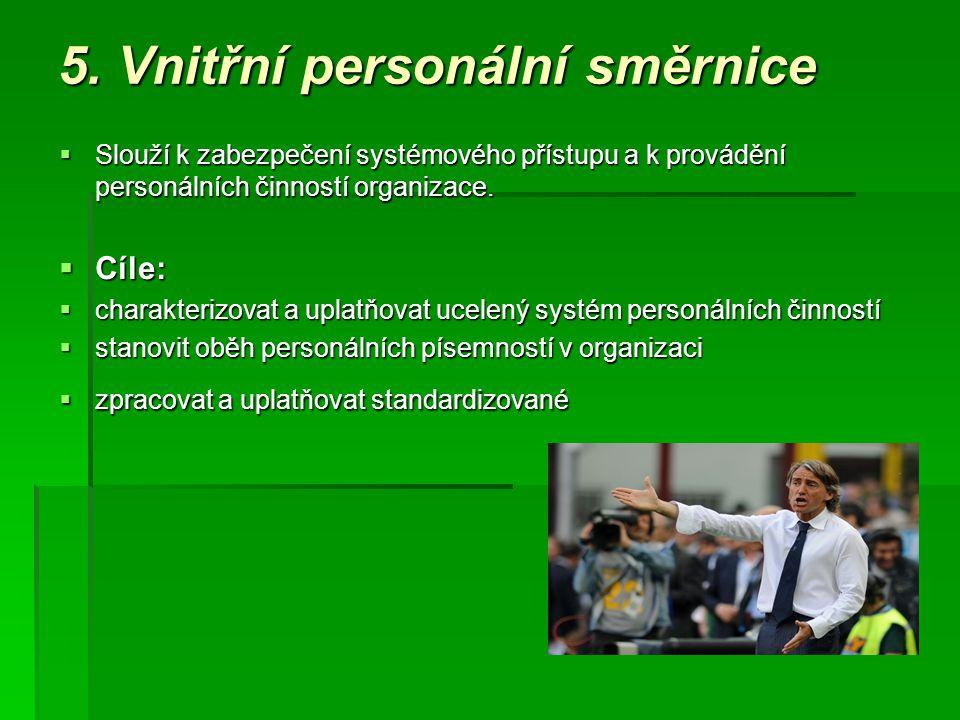 5. Vnitřní personální směrnice  Slouží k zabezpečení systémového přístupu a k provádění personálních činností organizace.  Cíle:  charakterizovat a