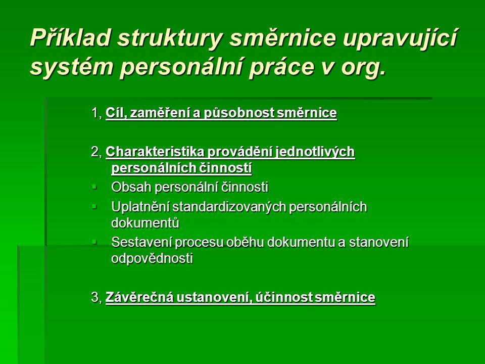 Příklad struktury směrnice upravující systém personální práce v org. 1, Cíl, zaměření a působnost směrnice 2, Charakteristika provádění jednotlivých p