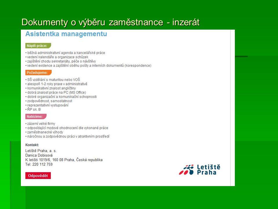 Dokumenty o výběru zaměstnance - inzerát