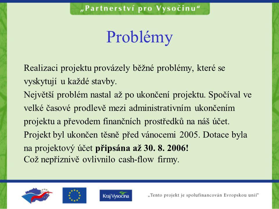 Problémy Realizaci projektu provázely běžné problémy, které se vyskytují u každé stavby. Největší problém nastal až po ukončení projektu. Spočíval ve