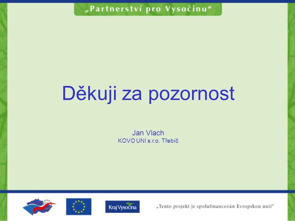 Děkuji za pozornost Jan Vlach KOVO UNI s.r.o. Třebíč