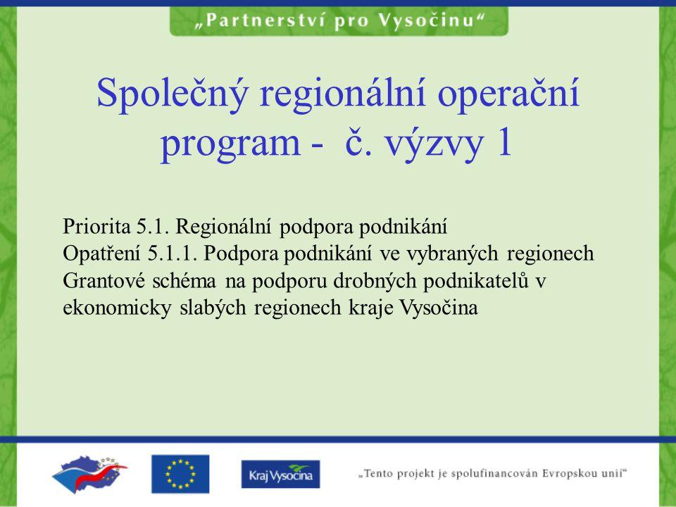 Priorita 5.1. Regionální podpora podnikání Opatření 5.1.1. Podpora podnikání ve vybraných regionech Grantové schéma na podporu drobných podnikatelů v
