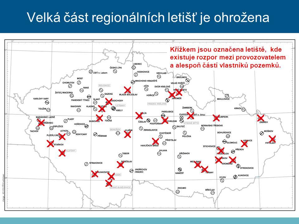 Křížkem jsou označena letiště, kde existuje rozpor mezi provozovatelem a alespoň částí vlastníků pozemků.