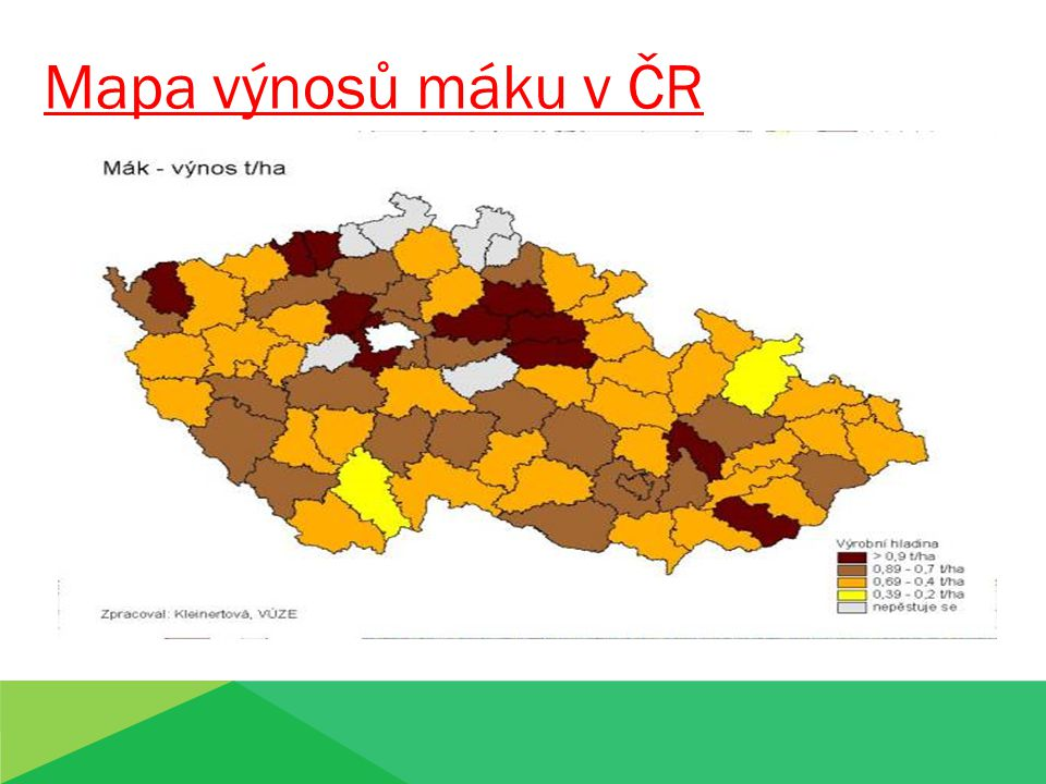 Mapa výnosů máku v ČR