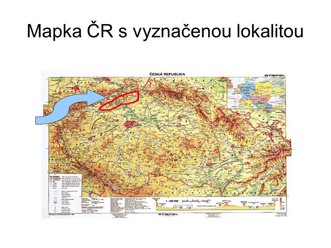 Mapka ČR s vyznačenou lokalitou