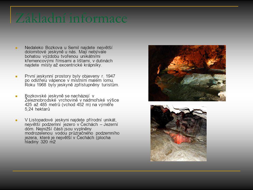 Základní informace Nedaleko Bozkova u Semil najdete největší dolomitové jeskyně u nás. Mají nebývale bohatou výzdobu tvořenou unikátními křemencovými