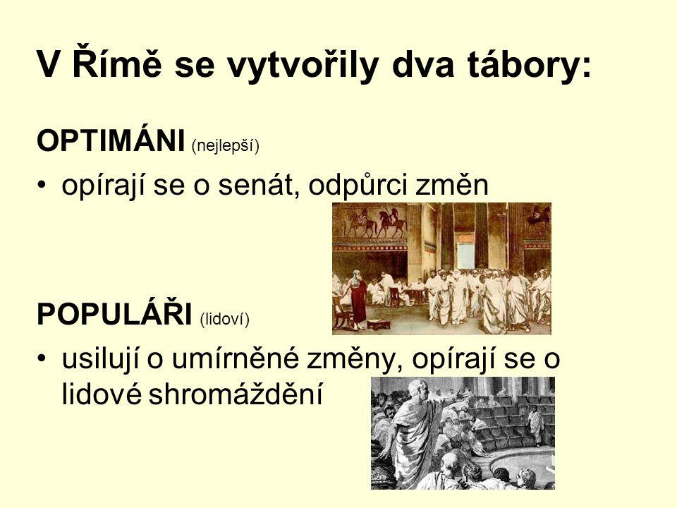 V Římě se vytvořily dva tábory: OPTIMÁNI (nejlepší) opírají se o senát, odpůrci změn POPULÁŘI (lidoví) usilují o umírněné změny, opírají se o lidové s