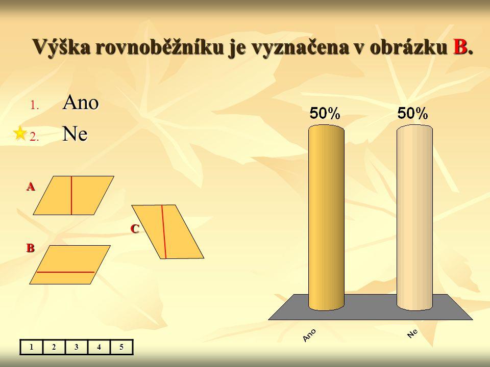 Výška rovnoběžníku je vyznačena v obrázku B. 1. Ano 2. Ne 12345A C B
