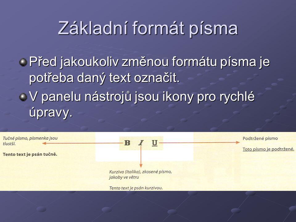 Základní formát písma Před jakoukoliv změnou formátu písma je potřeba daný text označit. V panelu nástrojů jsou ikony pro rychlé úpravy.