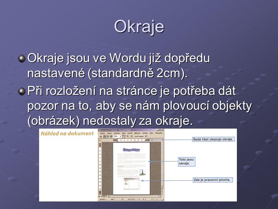 Okraje Okraje jsou ve Wordu již dopředu nastavené (standardně 2cm). Při rozložení na stránce je potřeba dát pozor na to, aby se nám plovoucí objekty (
