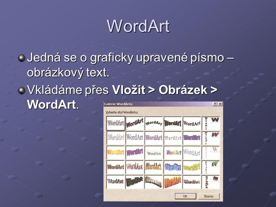 WordArt Jedná se o graficky upravené písmo – obrázkový text. Vkládáme přes Vložit > Obrázek > WordArt.