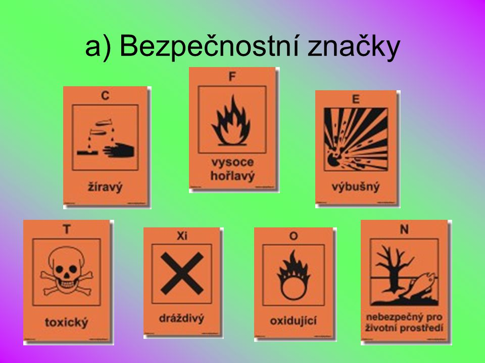 a) Bezpečnostní značky
